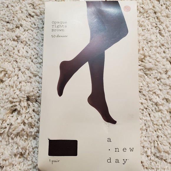 A New Day Opaque Brown Tights 50 Denier L/XL